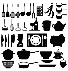 Kitchen silhouettes vector