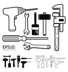 Tools icon set white background vector