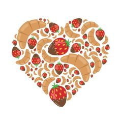 Croissant and strawberry in chocolate in heart vector
