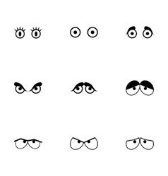 Black cartoon eyes icons set vector