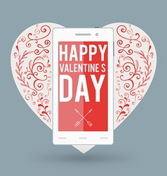 Smartphone with happy valentines day and big heart vector