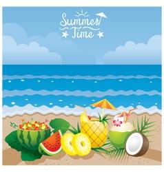 Coconut pineapple watermelon cocktail on beach vector