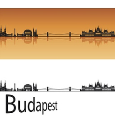Budapest skyline in orange background vector
