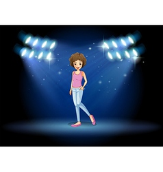 A girl performing in the middle of the stage vector