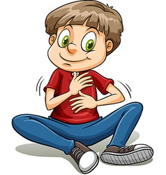 A boy with a golden heart idiom vector