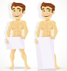 Cute naked man with posters for your message vector