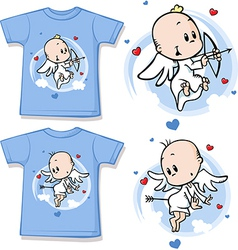 Kid shirt with cute angel printed vector