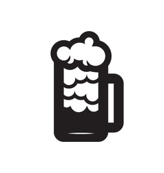 Beer glass black silhouette vector