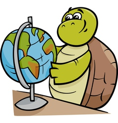 Turtle with globe cartoon vector
