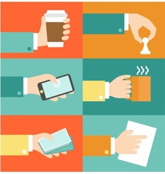 Set of hands - clients purchasing work in vector