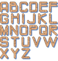 Cork texture alphabet vector