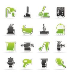 Bathroom and hygiene objects icons vector
