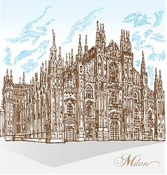 Milan cathedral hand draw vector