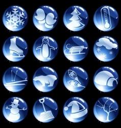 High-gloss winter themed buttons vector