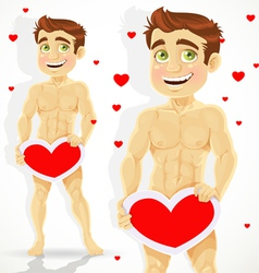 Cute naked man with valentine card vector