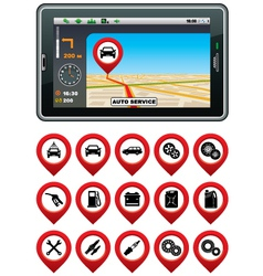 Gps navigator with the pointer autoservice vector
