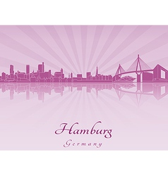Hamburg skyline in purple radiant orchid vector