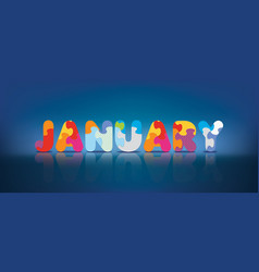 January written with alphabet puzzle vector