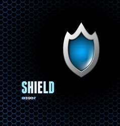 Card with steel glossy lightened shield vector