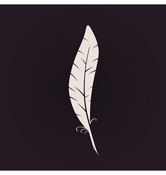 Feather sign icon retro logo ink pen calligraphic vector