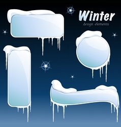 Collection of glossy winter banners vector