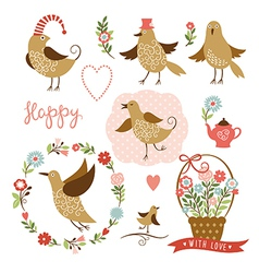 Cute birds holiday graphic elements vector