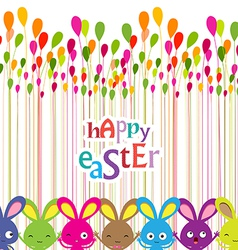 Easter bunnies colorful background vector