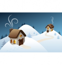 Winter country scene vector