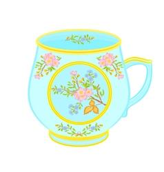 Porcelain mug of with floral pattern tea service vector