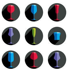 Decorative drinking glasses collection set of vector