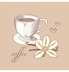 Sketched cofee cup with vanilla flower vector