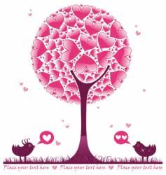 Valentine decorative tree vector