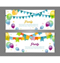 Party banners with flags and ballons vector