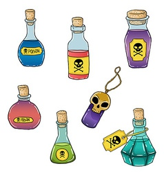 Set of cute hand drawn bottles with poison for vector