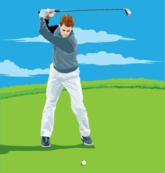 A man playing golf vector