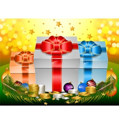 Glossy gift with ribbon and bow happy new year vector