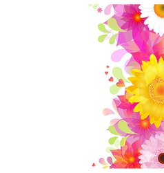 Flower background with color gerbers and leafs vector