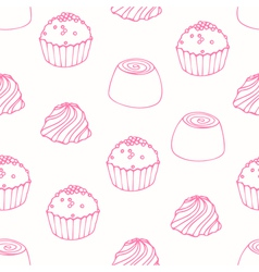 Seamless pattern with outline candies vector
