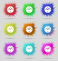 Mechanical clock icon sign a set of nine original vector