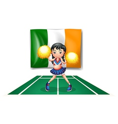 The flag of ireland and the cheerdancer vector