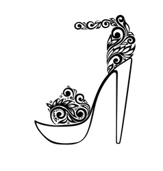 Sandals decorated with black and white floral orna vector