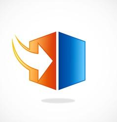 Storage arrow download cube logo vector