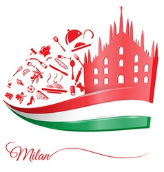 Milan cathedral with food element vector