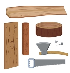 Set wood and tools vector