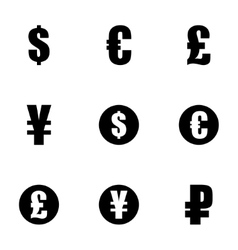 Black currency symbols icons set vector