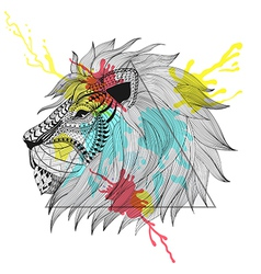 Zentangle stylized lion face in triangle frame vector