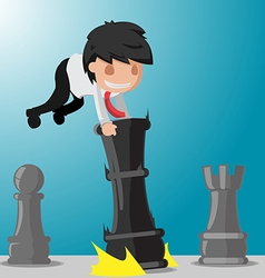 Business man worker play game chess vector