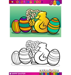 Easter chick cartoon for coloring vector