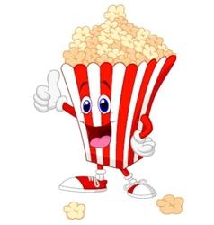 Cute popcorn cartoon with thumb up vector