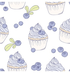 Hand drawn blueberry cupcake seamless pattern vector